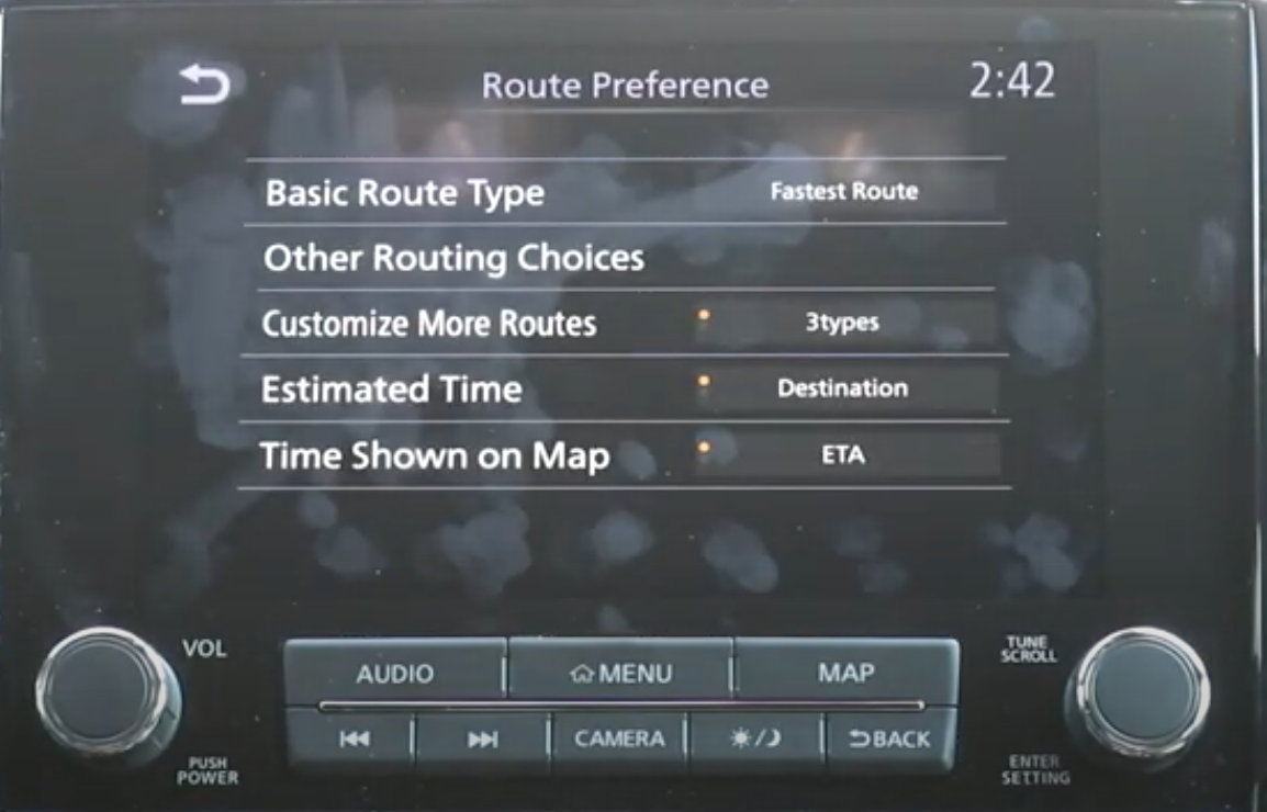 Chosing route preferences and other settings related