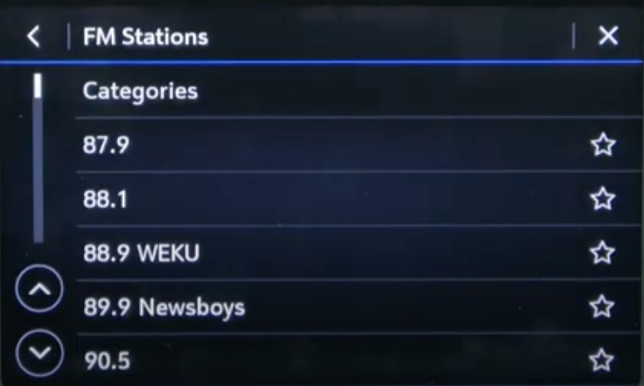 Browsing through a long list of FM stations by scrolling