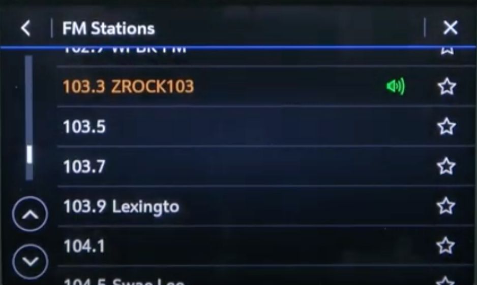 When an FM station is chosen from a long list, the name of it changes colours and there is a green speaker icon next to it