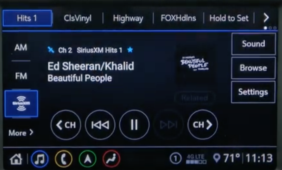 Music player with a list of sources next to it