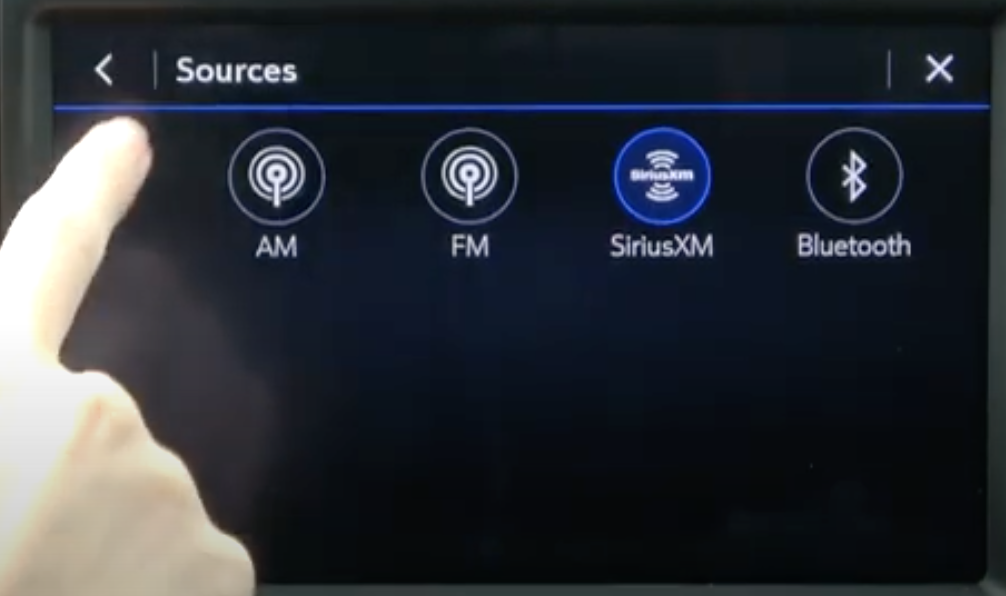 A list of audio sources all in circles with their icons, the selected on is highlighted in blue