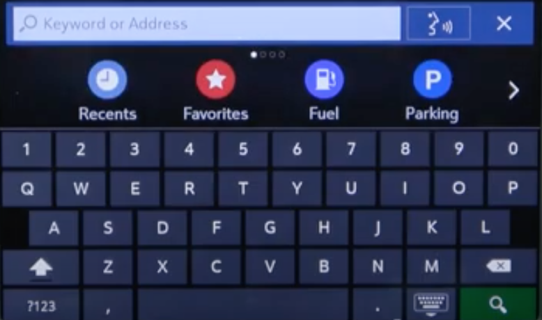 Virtual keyboard to help a user search a location with options underneath such as recent locations or favourites
