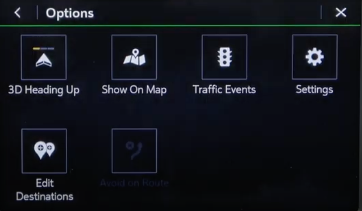 Navigation tools page with various things such as selecting to see traffic events or editing destinations