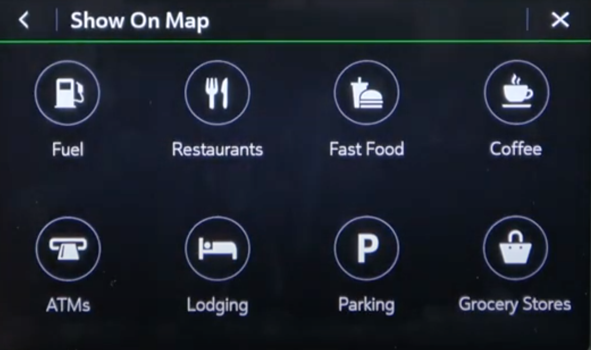 Various points of interests to chose from so that they can be displayed on the map