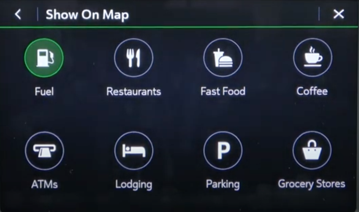 Various point of interests listed and the ones that are chosen to be displayed on the map are highlighted in a different color