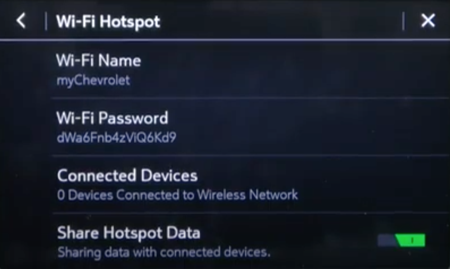 Wifi and hotspot information such as wifi name, password and connected devices