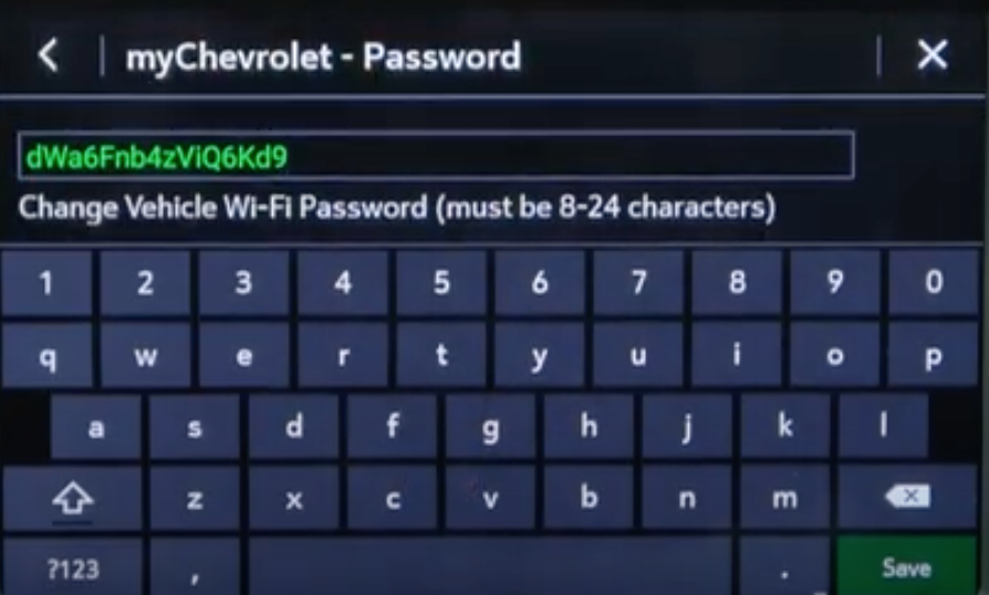 Setting up a password for vehicle Wi-Fi and a virtual keyboard to input the new password