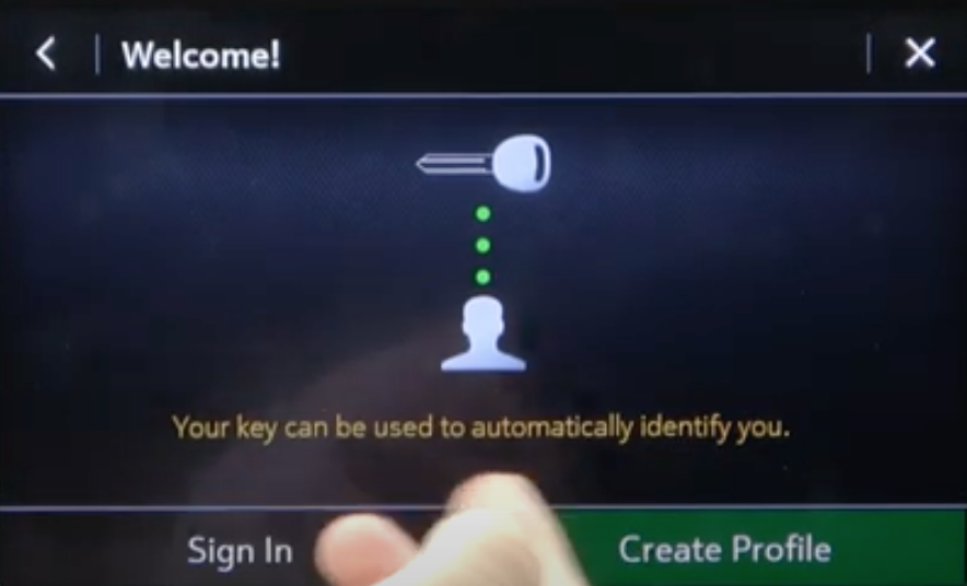 The option to create a driver profile and an illustration of a car key that will be used to identify the driver profile