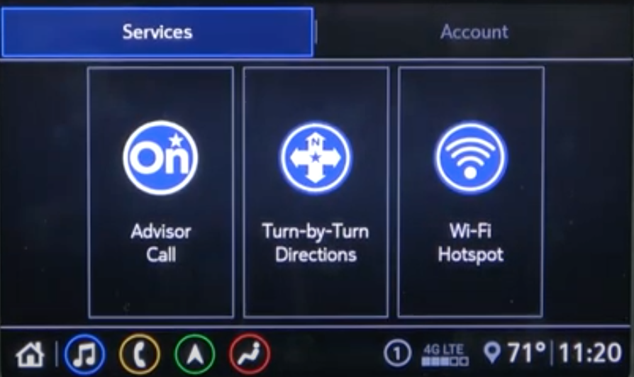 Connectivity services such as advisor call, network information and turn by turn navigation