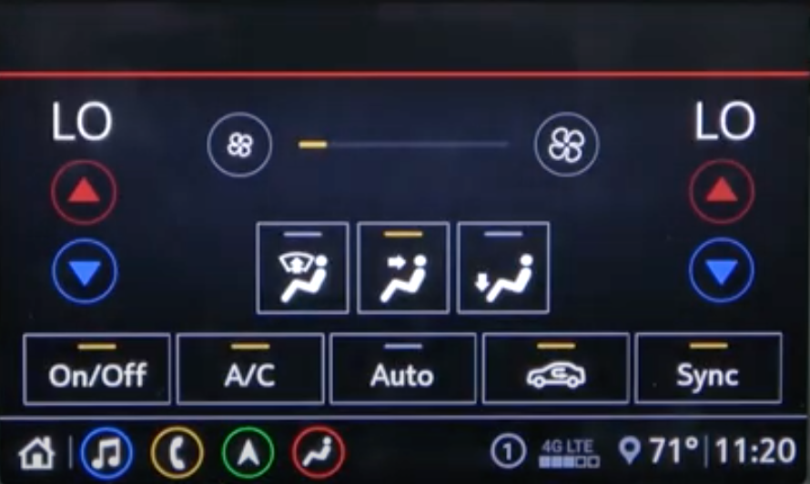 Climate settings with digital buttons and arrows to change temperature