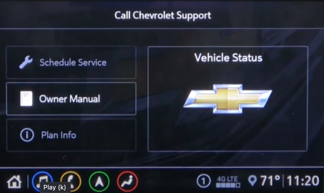 Page where a user can access vehicle status, owner's manual and other information