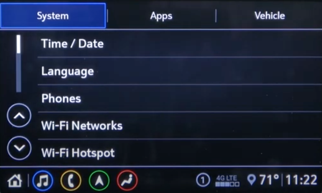 General infotainment settings page such as time/date, languages, phone and wifi