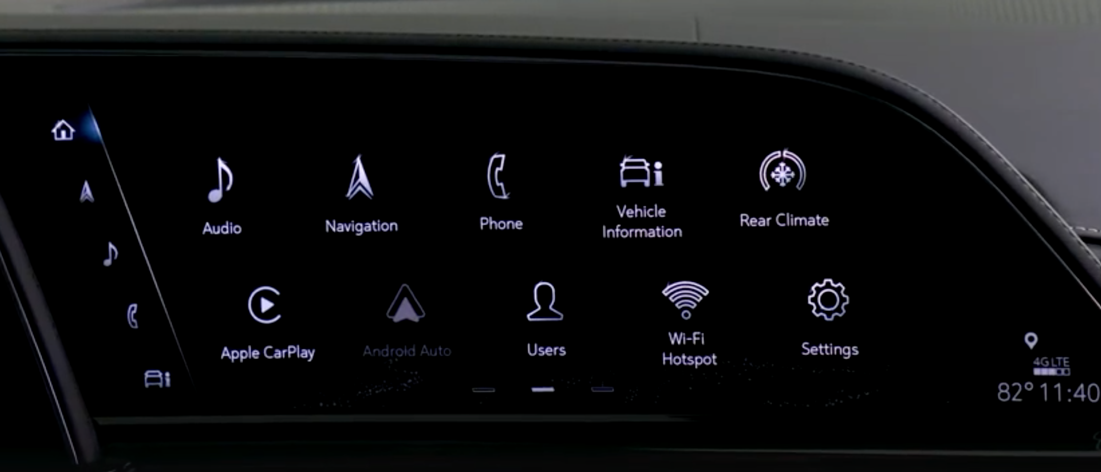A list of various apps that are in the infotainment system