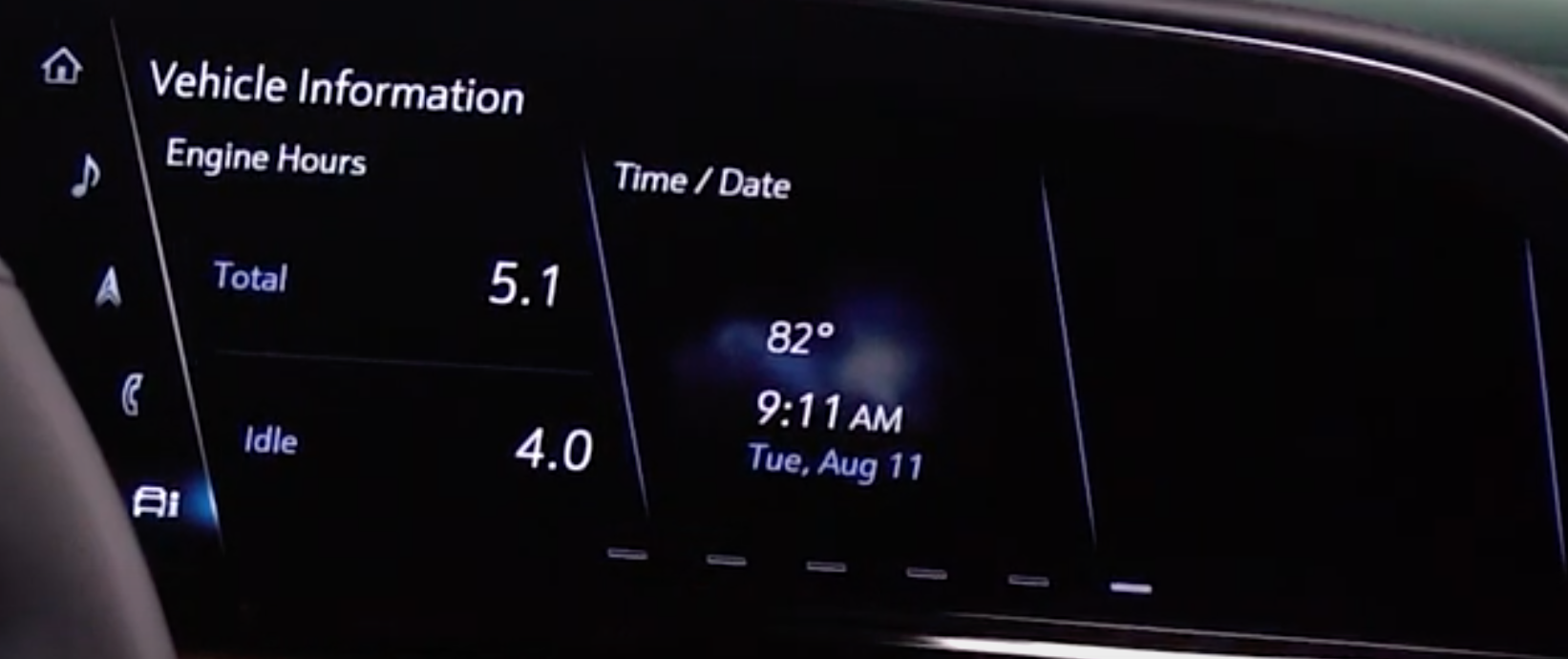Various vehicle information such as engine hours, time and date