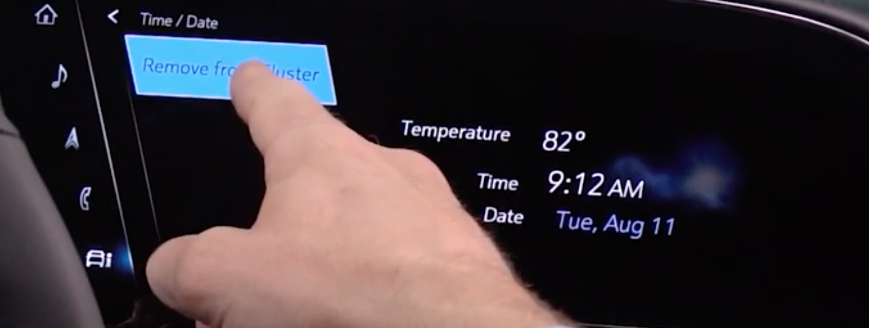 A user chosing the remove the time and date information from the cluster by pressing a button