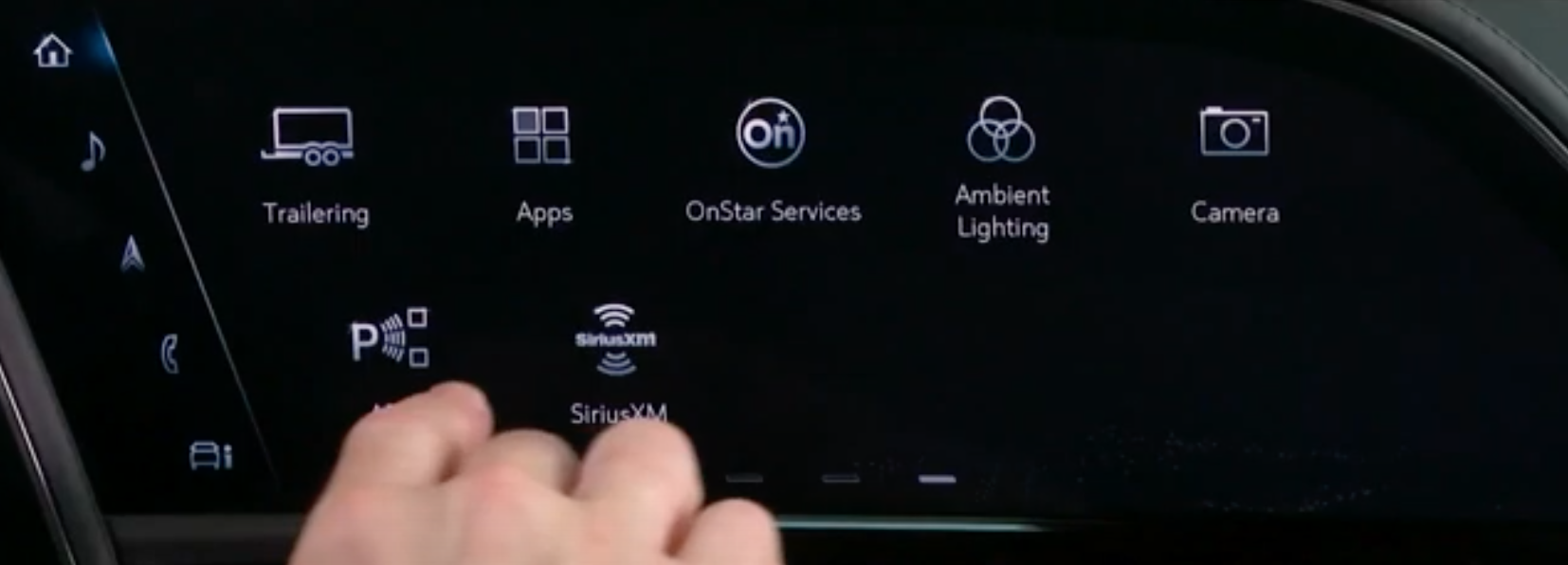 Various apps that are in the infotainment system