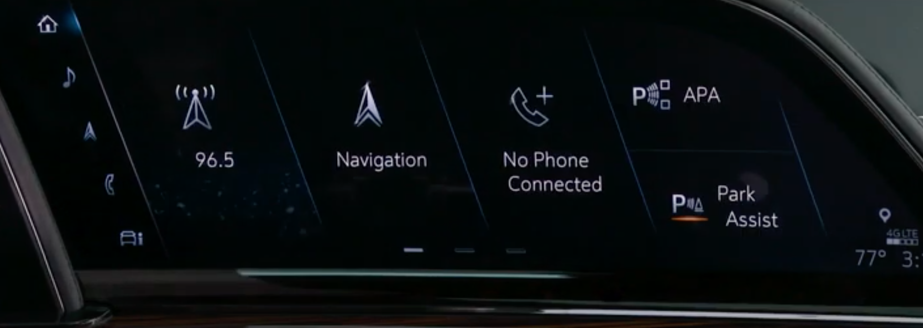 A view of the homescreen divided into main apps such as navigation, player or phone connectivity