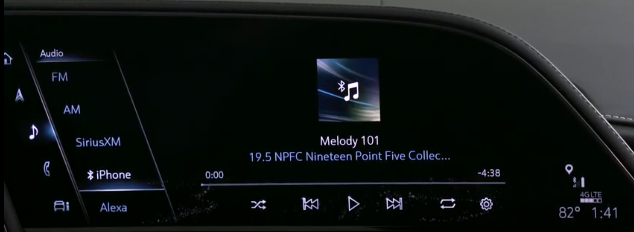 Music player when it is playing from a connected phone with a list of other sources on the left