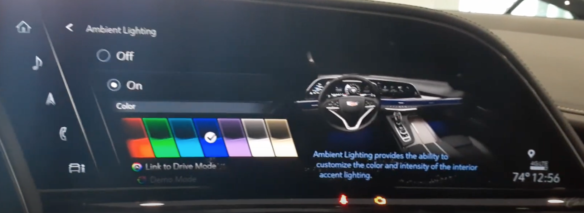Ambient lighting settings with various colors to chose from and an illustration of the interior of a car to see how the chosen color looks