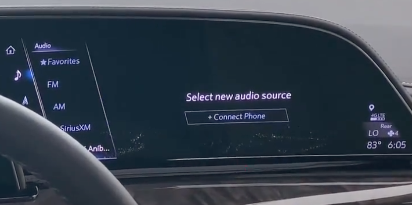 Audio sources on the right and the option to connect a new source such as a phone