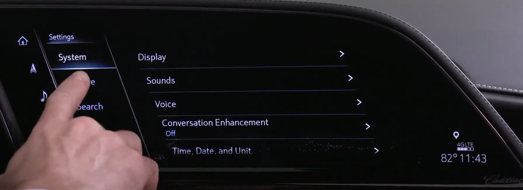 List of various system settings for the infotainment such as display settings and sound settings