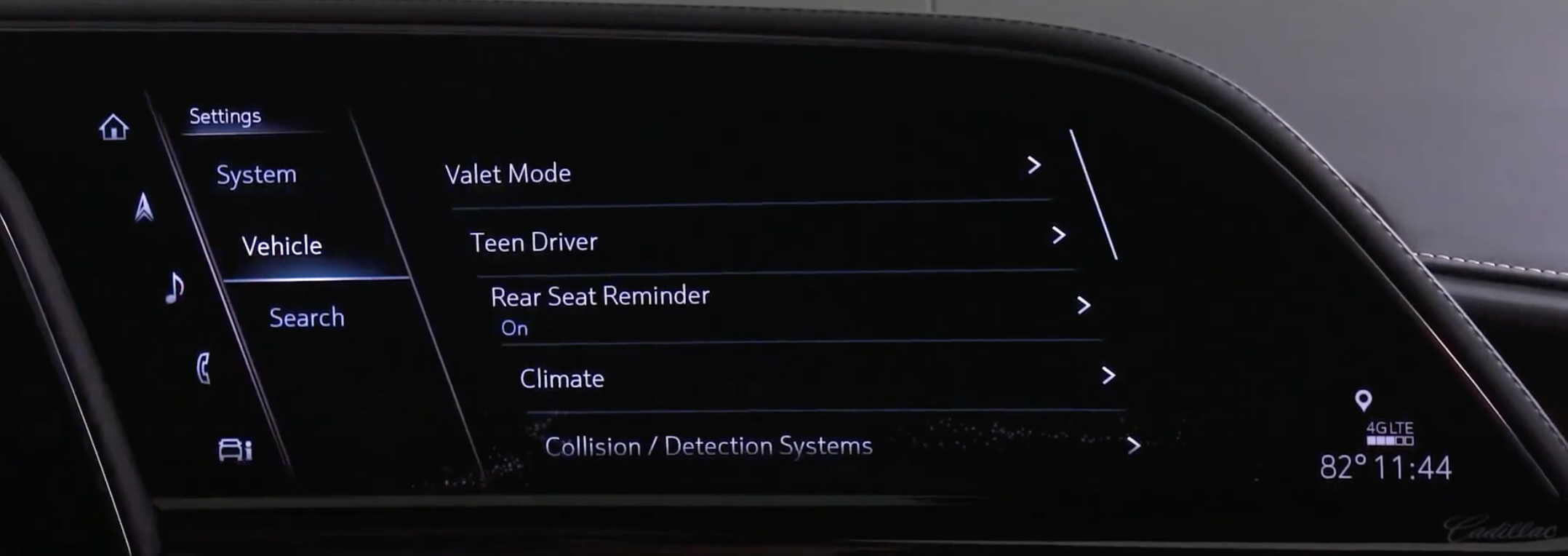 A list of various vehicle settings such as climate and driver assistance settings