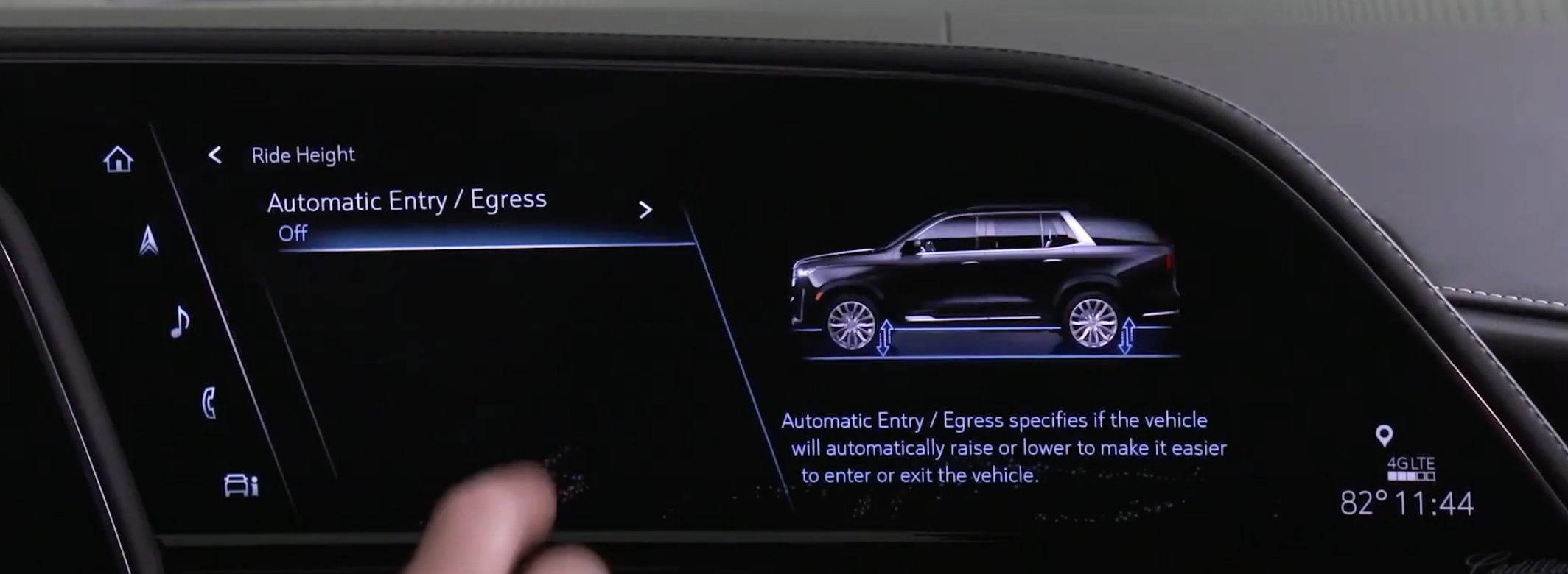 Turning on and off automatic entry and an illustration of a car