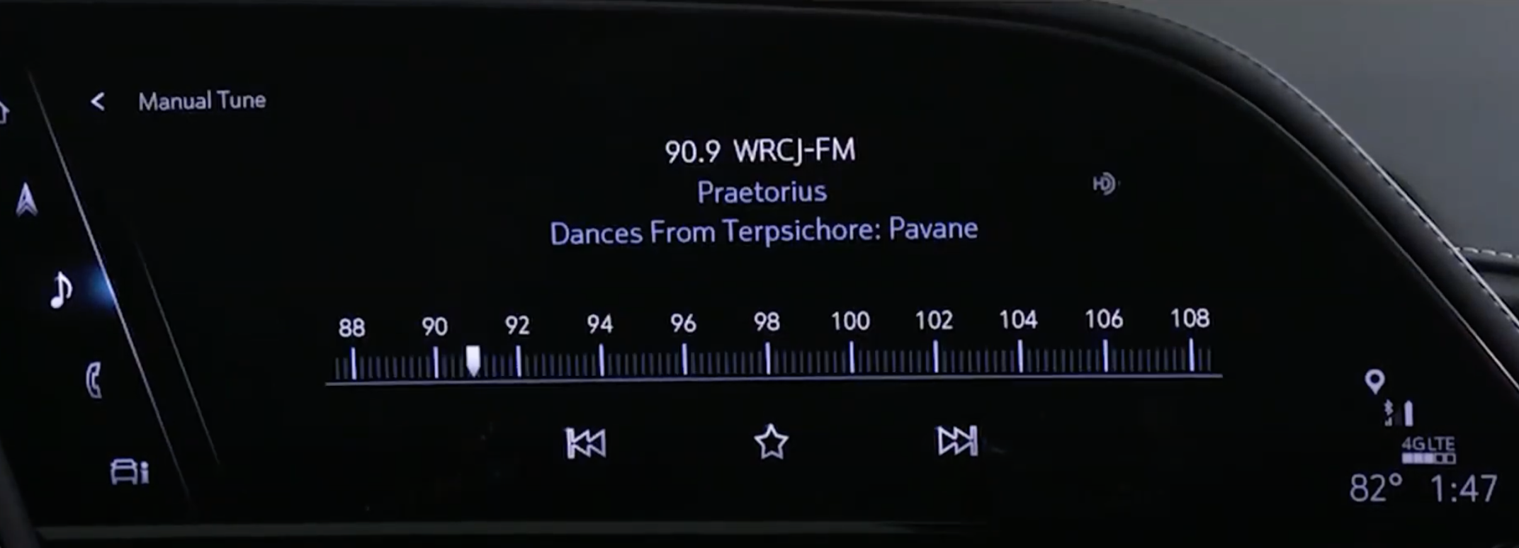 Browsing through radio channels through a slider