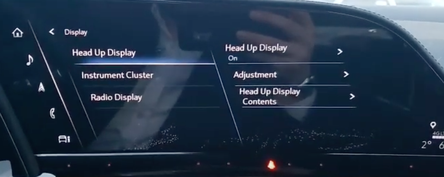Adjusting the settings for head up display such as contents and location