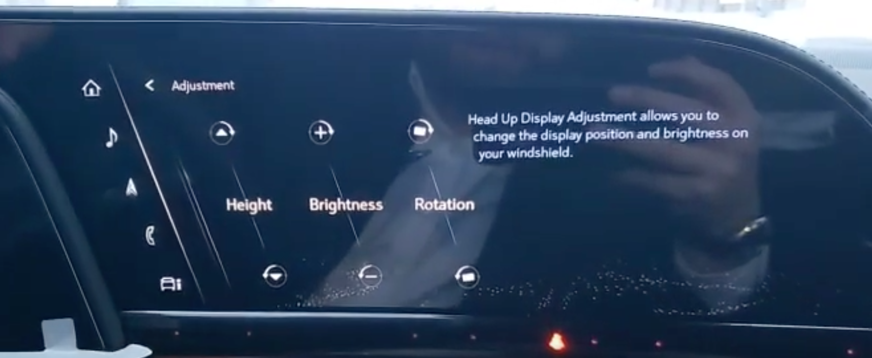 Adjusting the height, brightness and rotation of the heads-up display through sliders