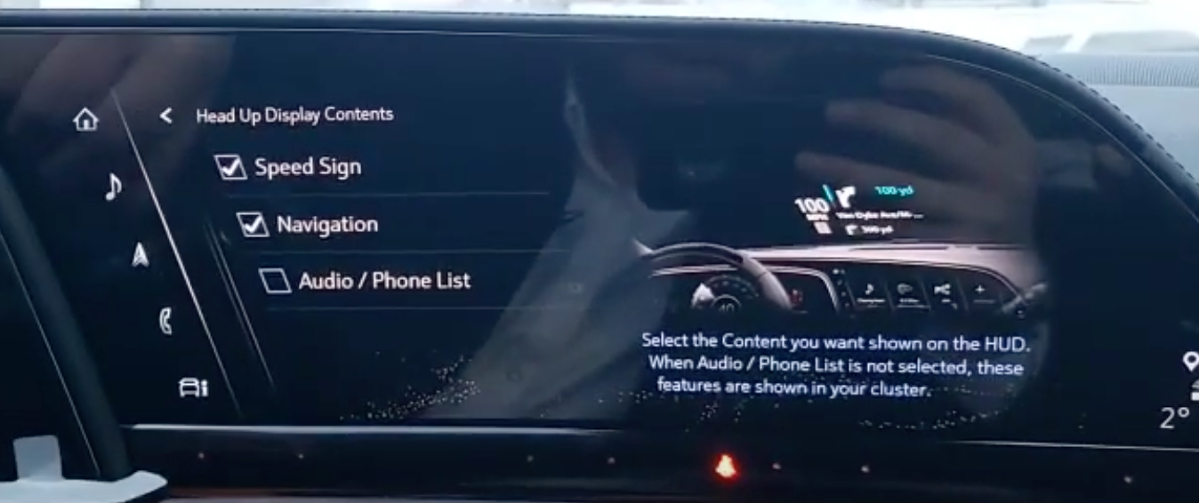 Adjusting the contents of the heads-up display through ticking check boxes