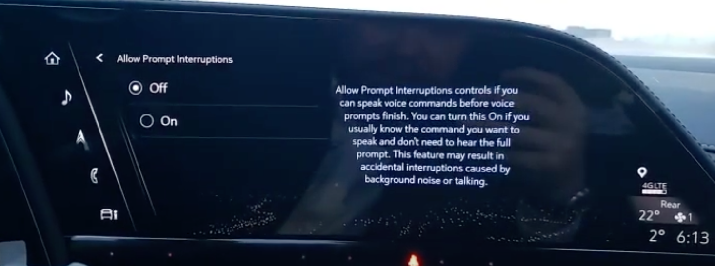 Turning on or off prompt interruptions for the voice assistant