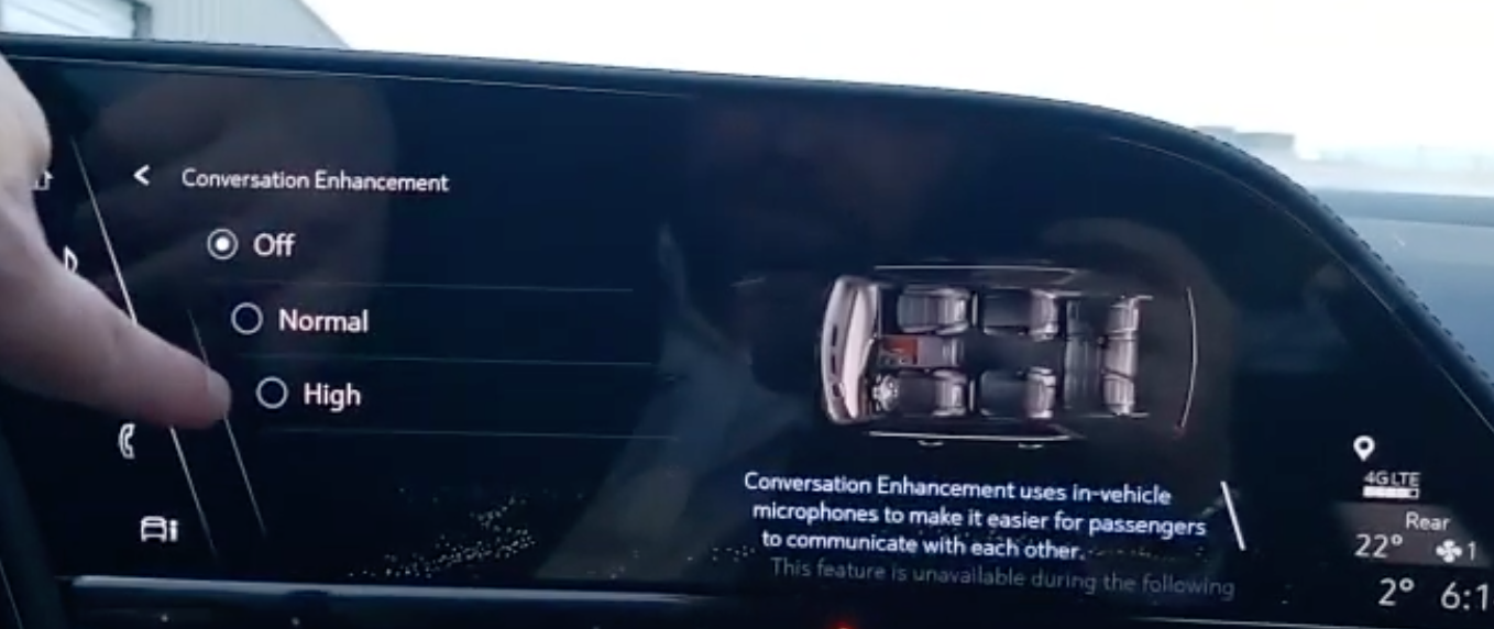 Turning on and off the conversation enhancement which uses in-vehicle microphones to make it easier for passengers to communicate
