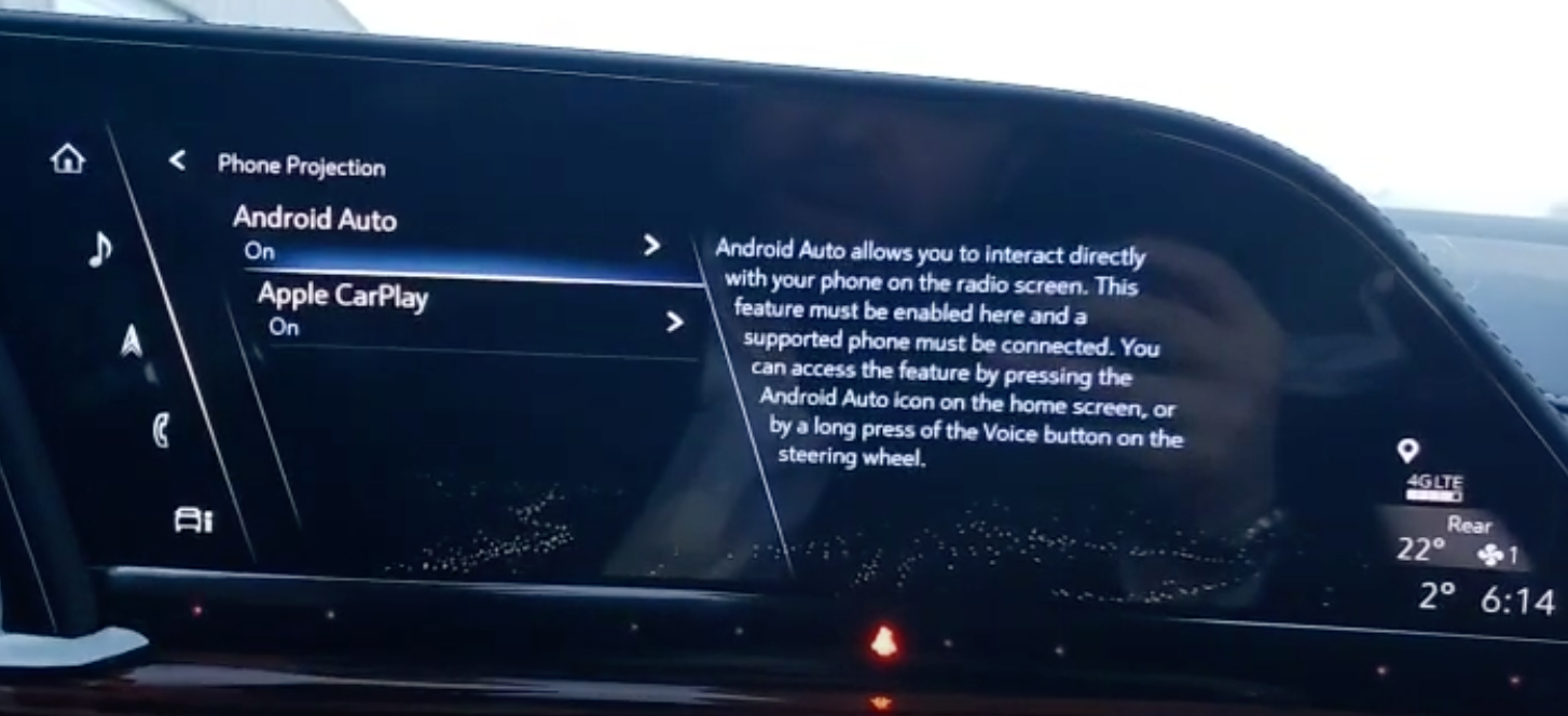 Turning on and off Apple Carplay and Android Auto functions