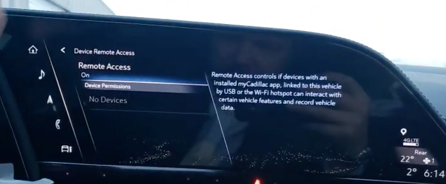 Turning on and off remote access through the phone application installed on a user's phone