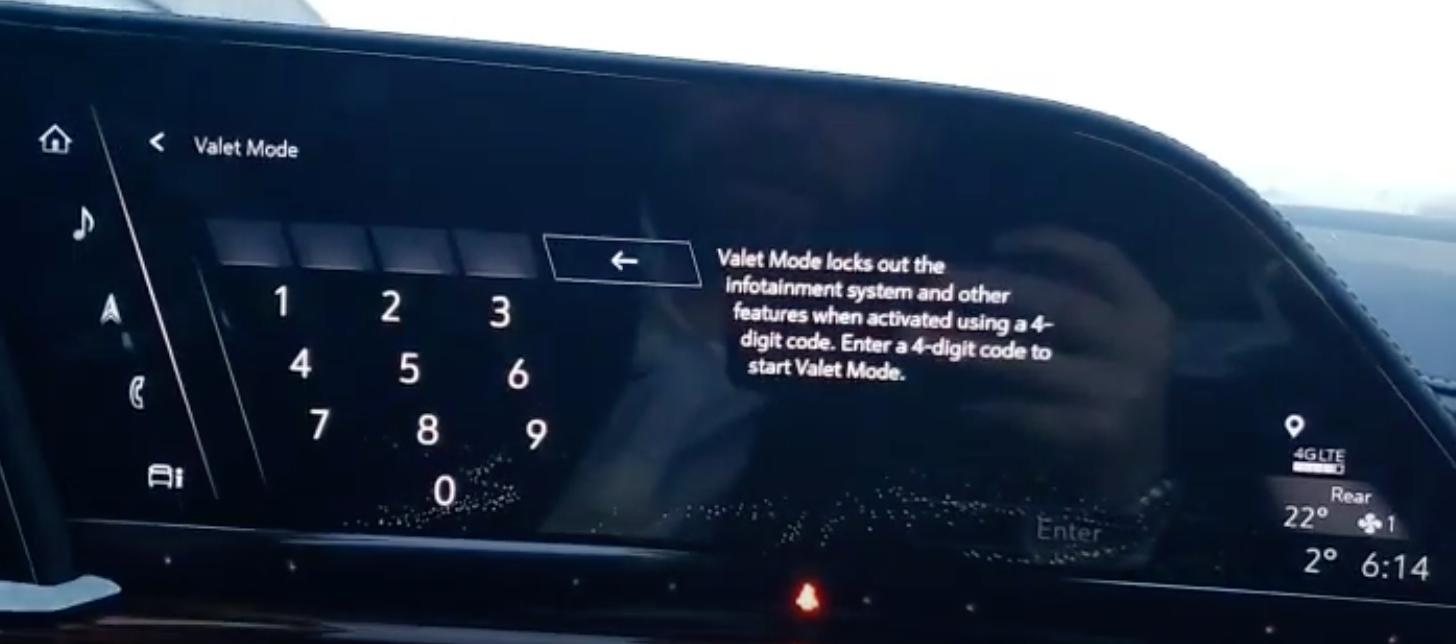 Keypad to enter a password to setup the valet mode