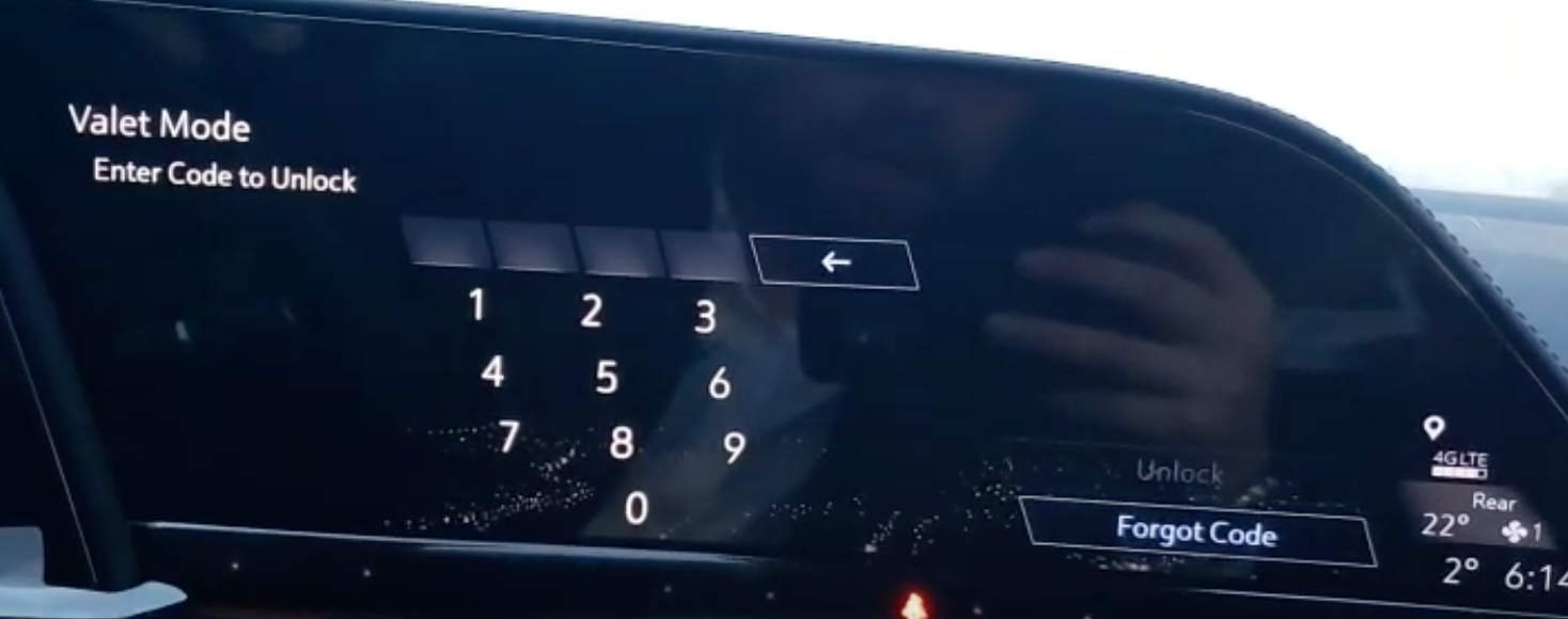 Keypad to enter the valet mode password to unlock the infotainment system