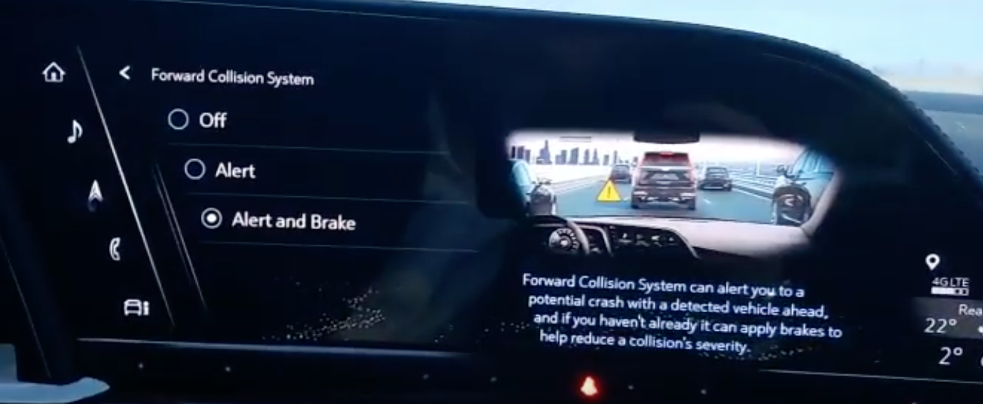 Collision avoidance settings and chosing from three options; turn it off, alert or alert and brake