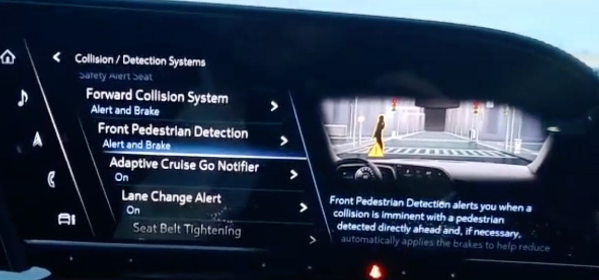 A list of various driver assistance settings listed with the option pedestrian detection selected