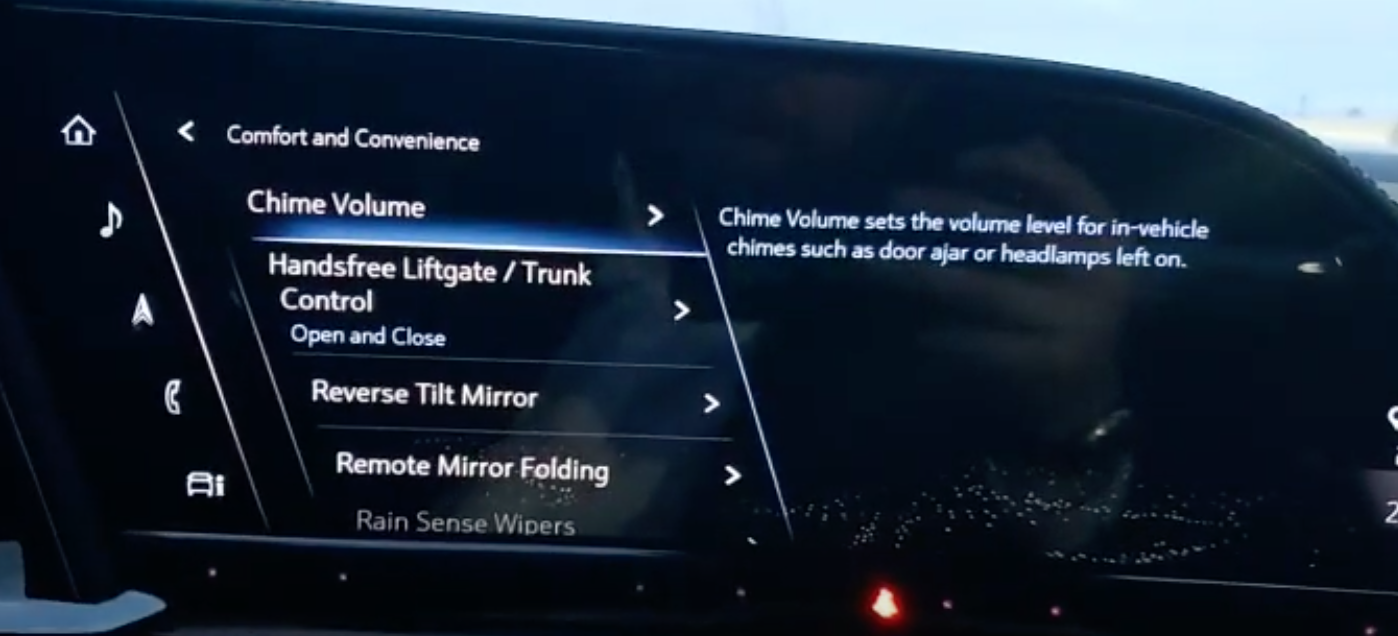 A list of various settings chime volume option selected to adjust volume of alert when headlamsp are left on or door ajar