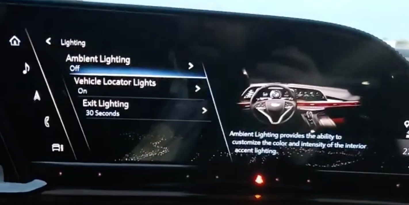 List of settings for lighting such as ambient lighting or vehicle locator or exit lights