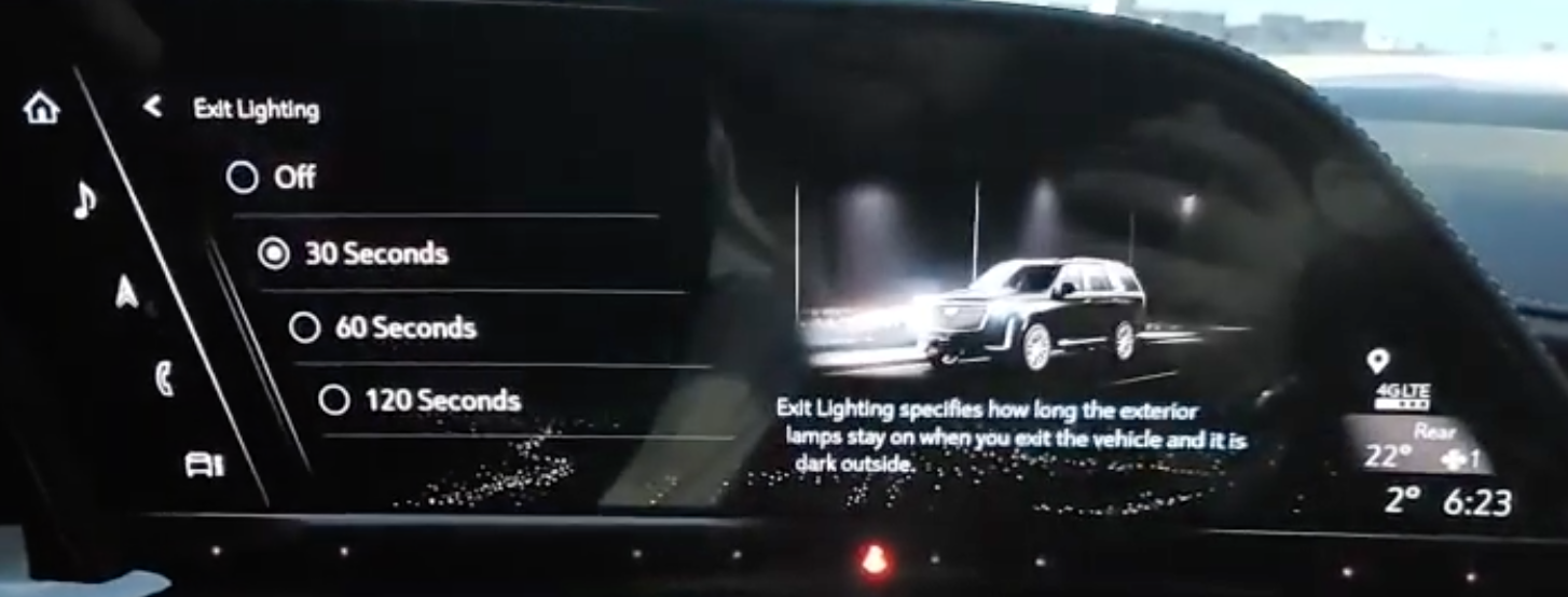 Adjusting the timing for the exiting lights from off up to 120 seconds and an illustration of a car on the right with high beams on
