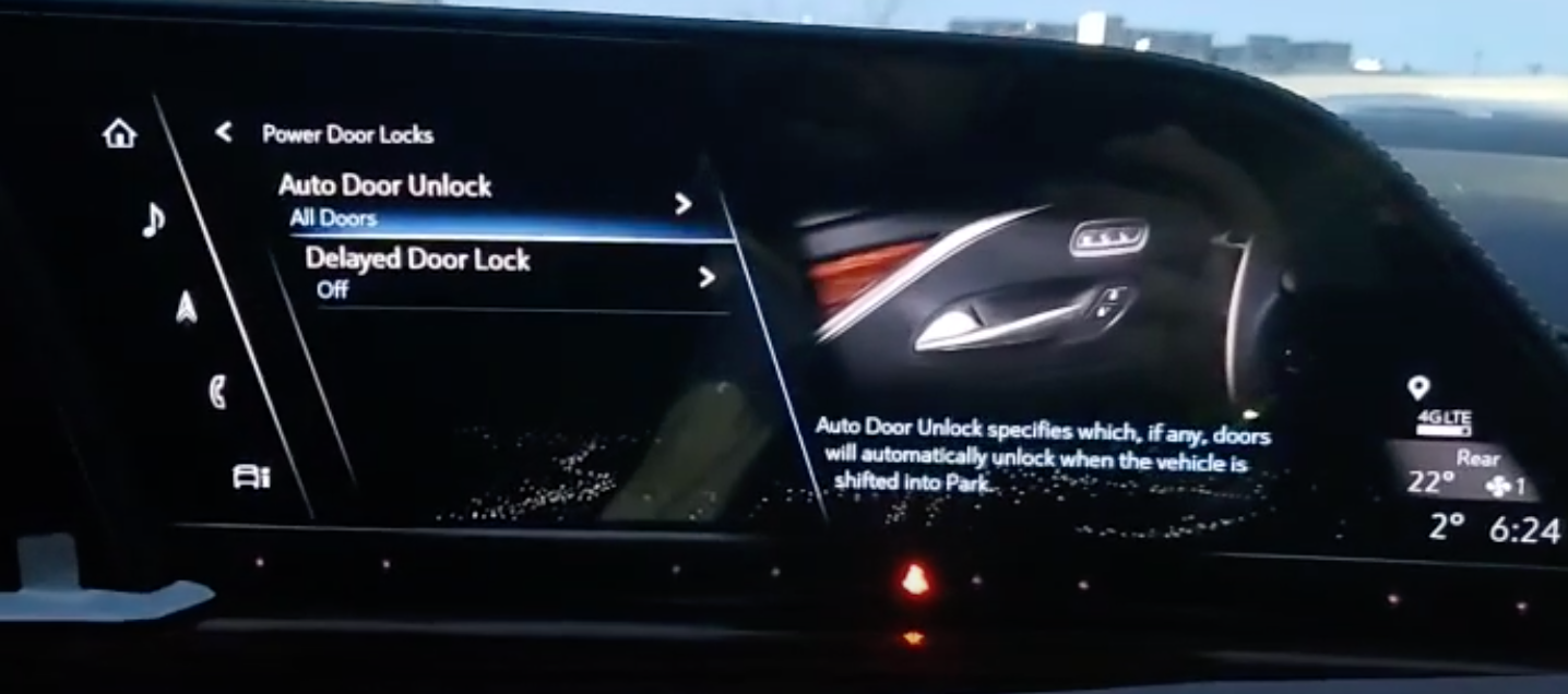 Auto door lock settings page with an illustration of the interior of a car on the side
