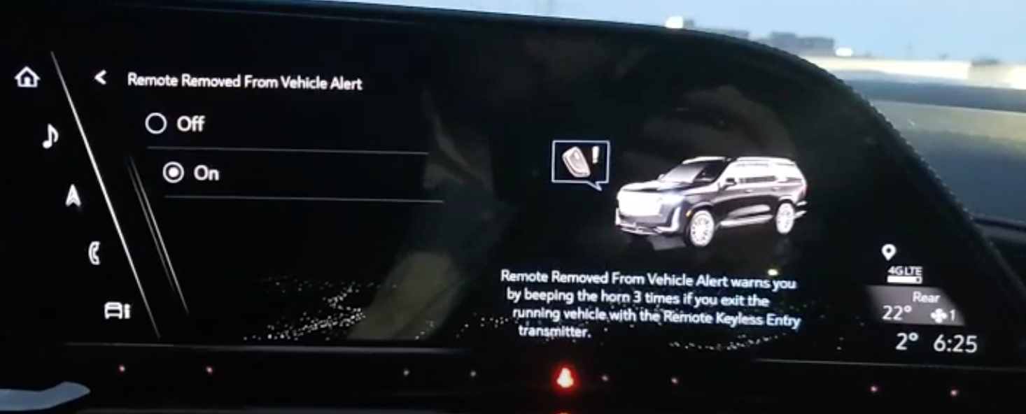 Turning on and off the remote removed from vehicle alert and an illustration of a car on the right with a warning sign
