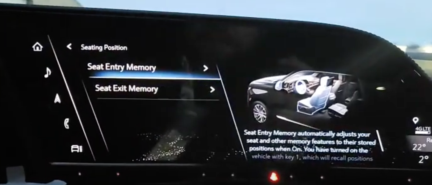 Setting up the memory seat preset for a vehicle with the illustration of seats on the right