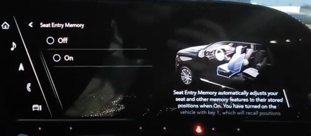Turning on and off memory seat, easy entry/exit options with an illustration of seats on the right