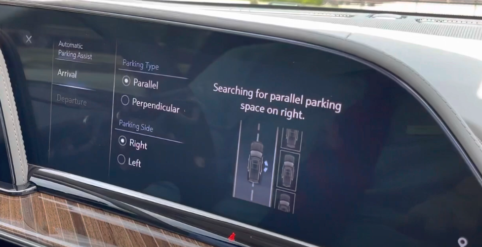 Automatic parking assistant page with options to chose parallel or perpendicular with an illustration on the right