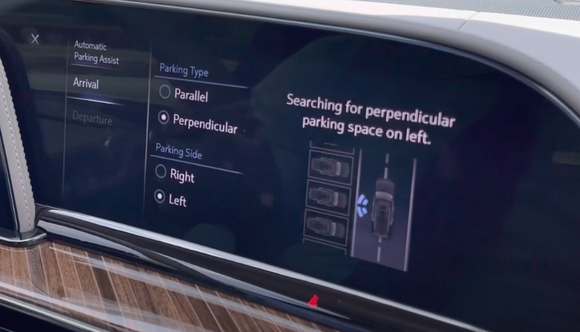 Automatic parking assist page with the option to chose parallel or perpendicular and an illustration on the right