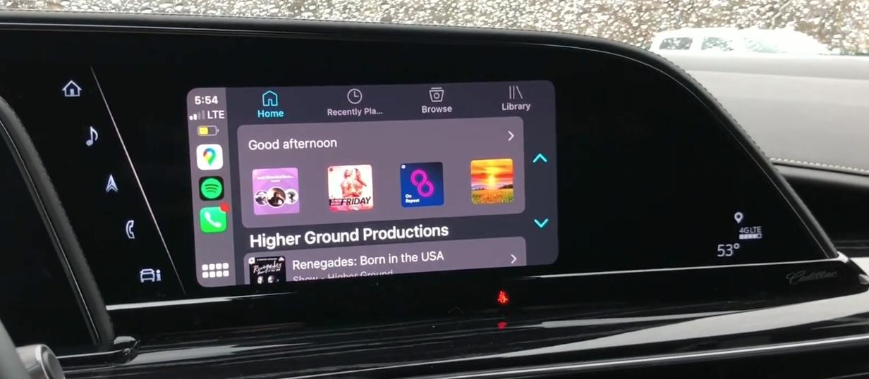 How the Apple Carplay interface looks on the infotainment display