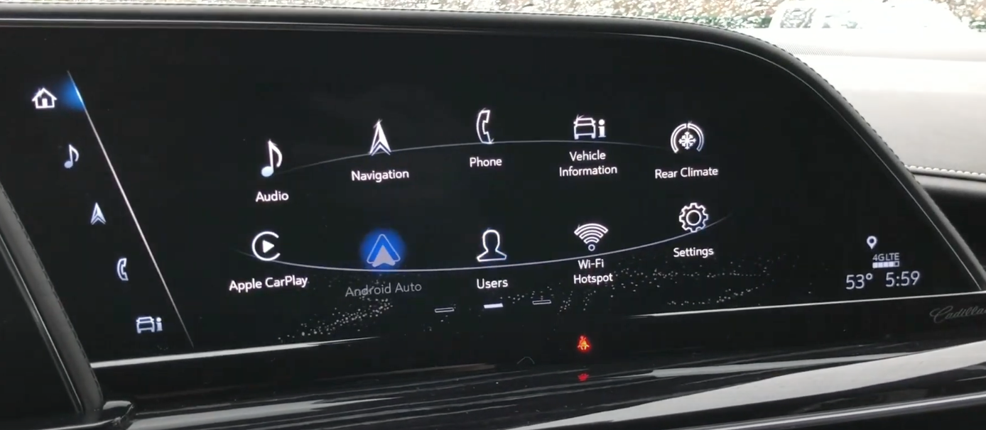 A view of the various apps that are on the infotainment system all lined up in the shape of an ellipse